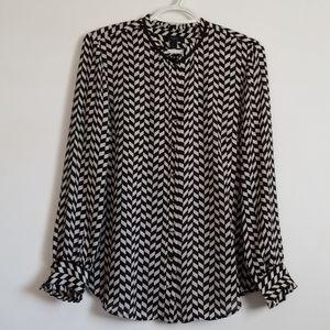 J Crew Long Sleeve Black White Silk Blouse